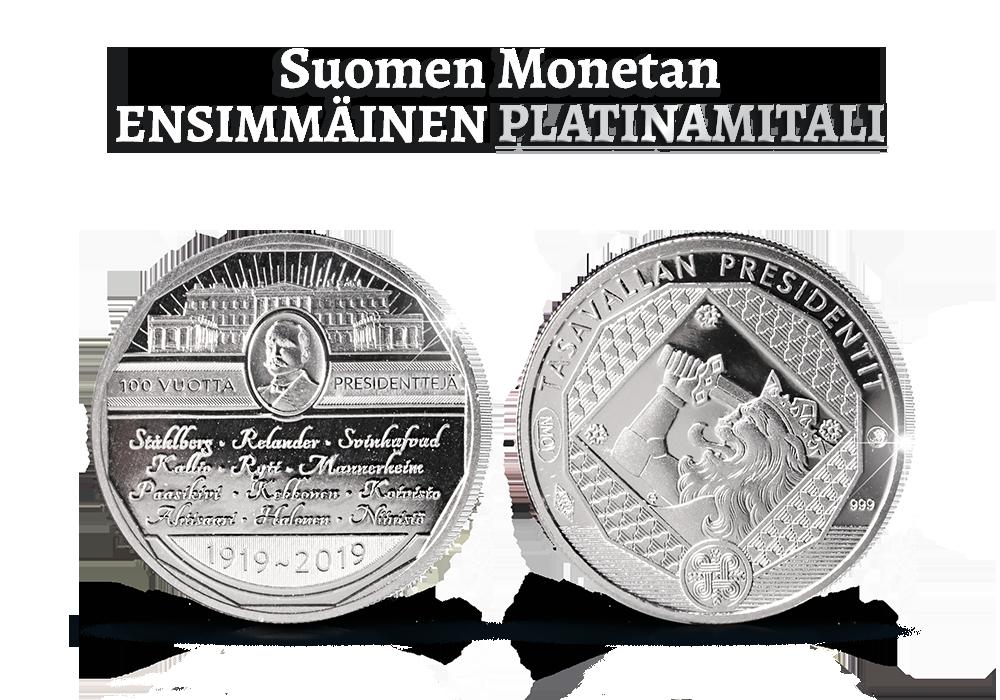 Suomen Monetan historian ensimmäinen platinamitali