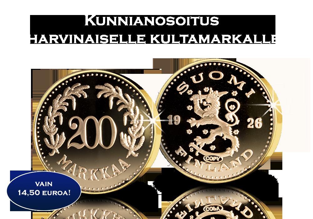 Upea kunnianosoitus Suomen harvinaiselle kultamarkalle