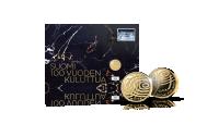 Suomi 100 vuoden kuluttua -kultaraha numeroidussa juhlarahakirjeessä