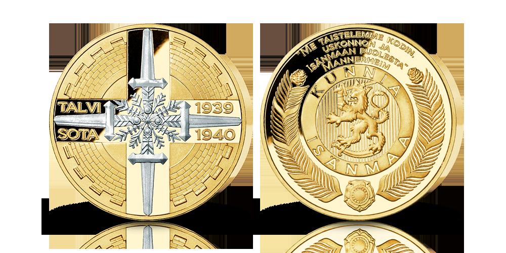 Osa-platinoitu ja kullattu Talvisota -mitali
