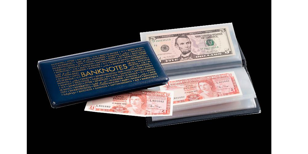 210 x 125 mm kokoinen sininen taskukansio seteleille