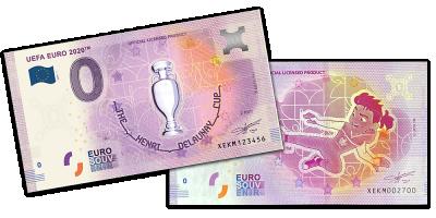 UEFA Euro 2020 Pokaali ja Maskotti 0 € -setelit