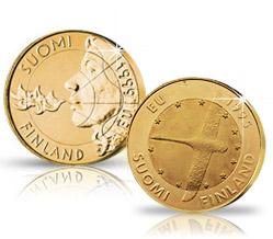 Suomen EU-jäsenyyttä ja -puheenjohtajuutta juhlistavat 10 markan juhlarahat