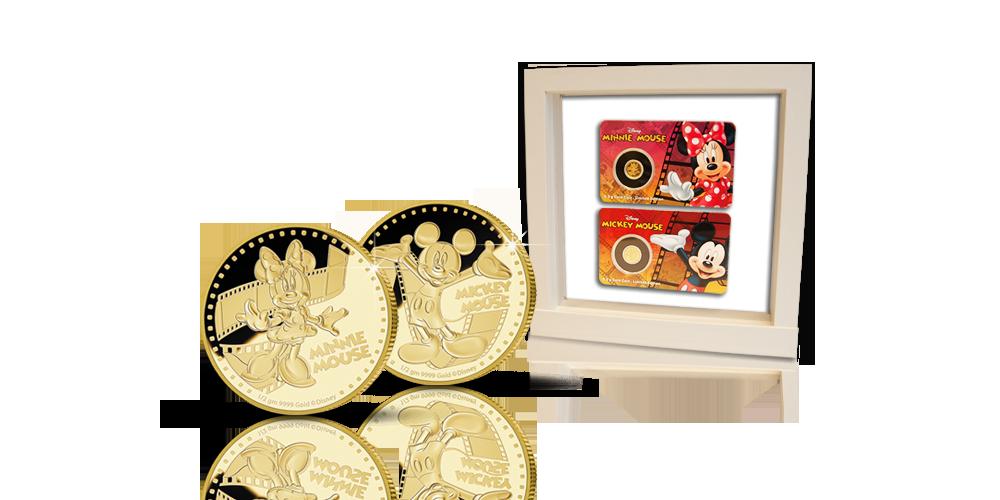 Mikki ja Minni -kultarahat valkoisessa keräilykehyksessä