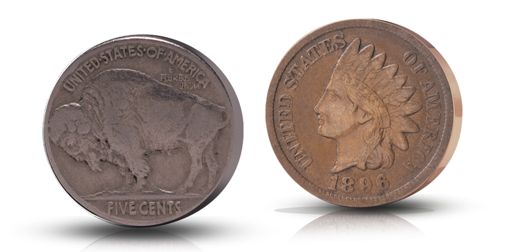 Wild west: buffalo and indian coins
