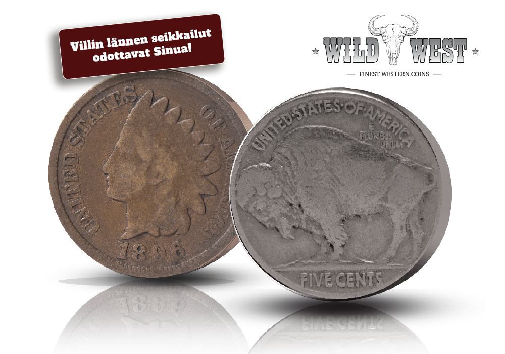 Wild West -kokoelma:  Kaksi aitoa käyttörahaa - Indian Head & Buffalo Nickel